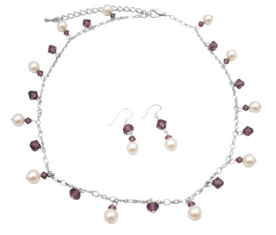 Bridemaides Handcrafted Jewelry Swarovski Amethyst Crystals & White Pearls Gorgeous Fabulous Necklace Set