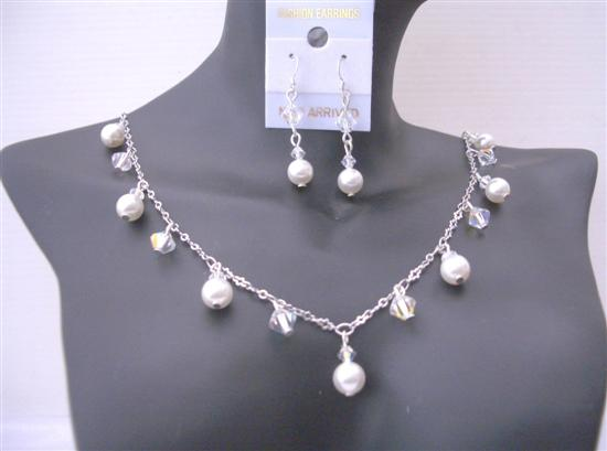 Sparkling Jewelry Set AB Swarovski Crystals And White Pearls Exclusive Bridal Jewelry Sets