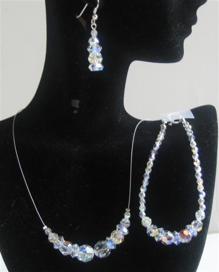 AB Round Swarovski Crystals Jewelry Set Bridal Jewelry Genuine Swarovski Round AB Crystals