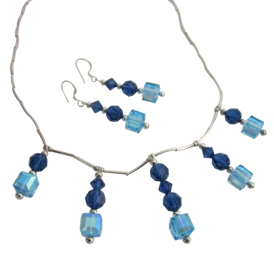 Aquamarine Swarovski Crystals And Metallic Blue Crystals Silver Pipe Bridal Wedding Jewelry Handcrafted Sets