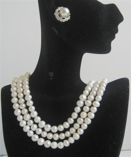 Potato Shaped Freswater Pearls 3 Stranded Necklace Set Bridal Bridemaids Wedding Jewelry Set w/ Stud Pearls Earrings
