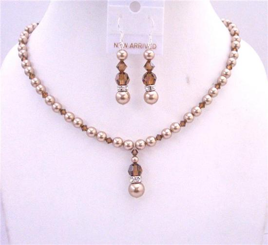Bronze Pearls Swarovski Smoked Topaz Crystals Jewelry Set Genuine Swarovski Pearls & Crystals Handcrafted Necklace Set