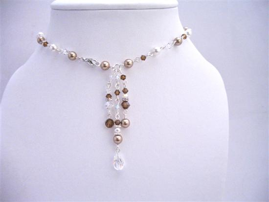 Back Dangle Back Drop Necklace Jewelry Handmade Back Drop Bridal Bridemaids Pearls Crystals Custom Jewelry