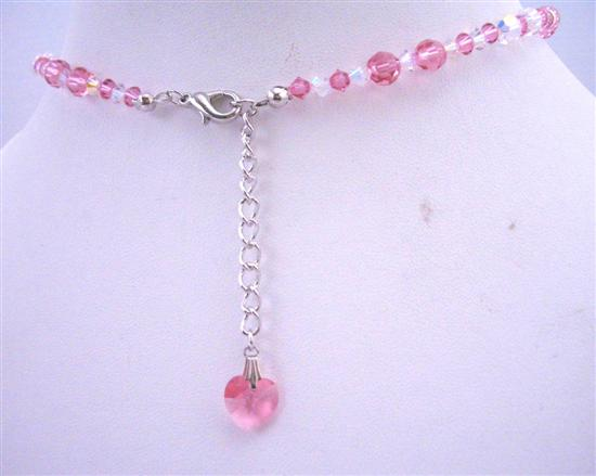 Rose Swarovski Crystals AB Crystals w/ Crystals Heart Back Dangle Drop Necklace Jewelry