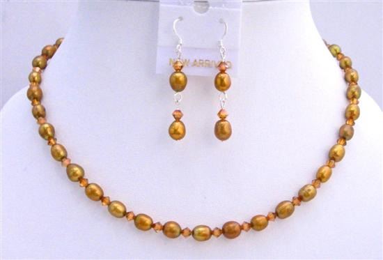 Copper Freshwater Pearls Rice Shaped Pearls Jewelry Set w/ Genuine Swarovski Copper Crystals Necklace Set