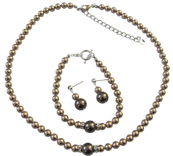 Set bronze pearls w chocolate brown pearls amp silver rondells spacer