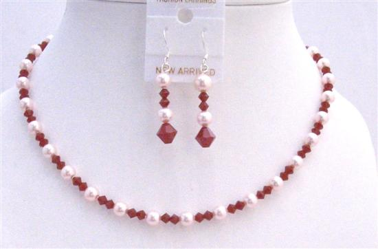 Coral Red Jewelry Set Swarovski Coral Crystals & Rose Pink Pearls Necklace Set Wedding Jewelry