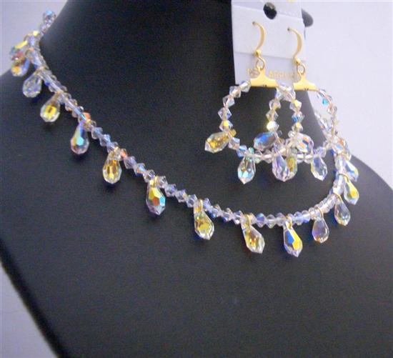 Bridal Gold AB Crystals Teardrop Jewelry Set Exclusive Bridal Jewelr from fashionjewelryforeveryone.com